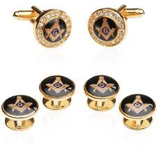Crystal Gold Masonic Freemason Tuxedo Cufflinks and Studs with Quality Gift Box