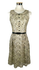 REVIEW Dress - Vintage Peter Pan Collar Lace Button Belt Beige Silver Black - 6
