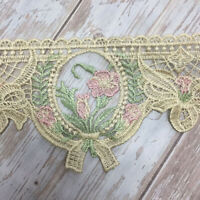 2 Yards Antique Lace Trims Sewing Embroidery Flower Webbing for Sofa Cushion