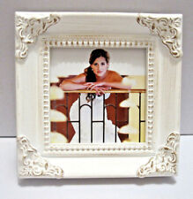 White Leaf 3x3 Photos / Picture Frame Or Place Cards With Rustic Corner Accents
