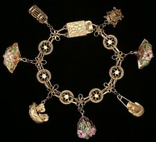 Vintage Chinese Silver, Gilded, Enamel, and Cloisonne Charm Bracelet, 3D Charms