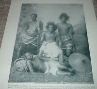 1892 Antique Print IN CENTRAL AFRICA Typical Natives Family w/Spears