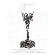 Alchemy Gothic Pewter Blood Red Swarovski Crystal Dracula Cup Wine Glass Goblet