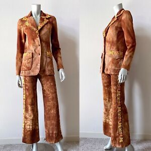 Vintage 70s Womens Pant Suit Jacket S Flare Bell Bottom Brown Tie Dye Butterfly
