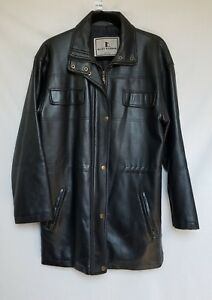 MISTY HARBOR BLACK ZIP FRONT LONG SLEEVE FAUX LEATHER COAT SZ M #H183