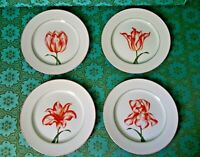 Fitz and Floyd FLOWERS  Salad Plates Fluers Rouges Tulip Pattern 1981 Japan - 4