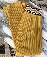 Lucy & Laurel Mustard Yellow Pleated Maxi Skirt Chevron Waist M