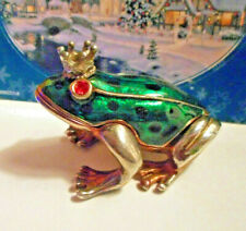 Cute green enamel frog with crown trinket box