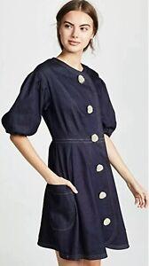 NWT Paper London $525 Anita Puff Sleeve Dress Denim Size UK 6 US 2 Midnight Blue