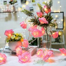 Lots LED Rose Flower Xmas String Lights Fairy Wedding Party Garden Decoration