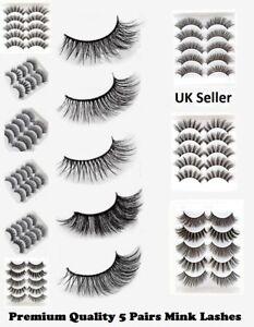 5Pair 3D Mink False Eyelashes Wispy Cross Long Thick Soft Fake Eye Lashes UK Sel