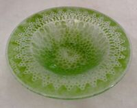 Edwin Walter-Doily Glass-Studio Art Glass Bowl-MCM-Green Fused Glass-Bubbles-9""