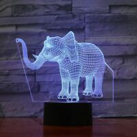 3D elephant animal illusion lamp table night light 7 color LED lighting optical