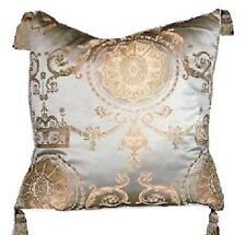 Regal Baroque Pillow Blue Gold Decorative Tassel Trim Glam Home Decor Cushion