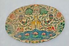 Old VINTAGE India Iron Tin Serving Oval Floral Litho Print Tray Collectible