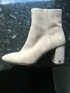 Genunine Tory Burch Nude Suede Ankle Zip Up Boots US5 M UK3 with dust bag