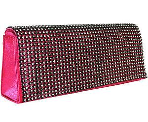 Clutch Pink Schwarz Tasche klein Damen Tasche Abendtasche  Strass Evening bag
