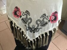 Authentic embroidered Alexander McQueen skull scarf, shawl with tassels bnwot