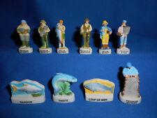 SPORT FISHING Fish FISHERMEN Set 10 Mini Figurines FRENCH Porcelain FEVES Figure