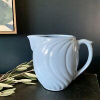 Vintage USA Pottery Blue Ceramic Pitcher Or Flower Vase Turquoise Swirl Details