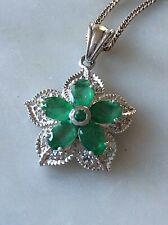 Pendant & Chain Sterling Silver & Emeralds Flower
