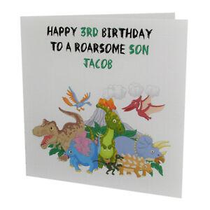 Handmade PERSONALISED Dinosaur Boys /  Kids / Childrens Birthday Card
