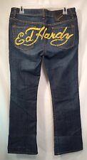 Ed Hardy Christian Audigier Jeans Women's Size 30 Dark Wash Bootcut Pants Script