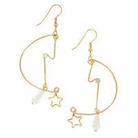 """Vintage 1980S Pierced Earrings Gold Tone Wire Dangle Star Faux Pearl 2 3/4"""""""