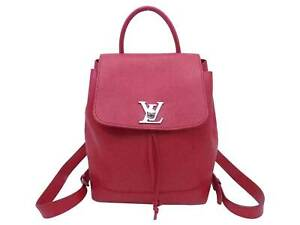 Auth Louis Vuitton Lockme Backpack Red/Silver Leather/Silvertone - e49055a