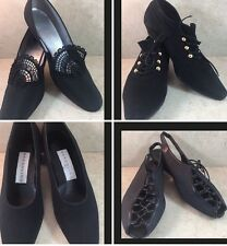 Lot 4 Pairs Black Shoes Sz 8.5 2 Vintage Inspired & Prevata Tie Up Flats & Heels