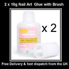 2 X 10 G Acrílico Nail Art Glue falsas falso Punta francés Gel Gem Rhinestone Diamante
