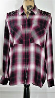 Express shirt Medium Long Sleeve Button Front Studded Multicolor Plaid