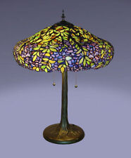 Tiffany Style Stained Glass Laburnum Table Lamp 2 Lights Handcrafted New