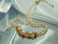 Luminess Signed Rhinestone Faux Pearl Elegant Vintage 80's Fancy Necklace 929N0