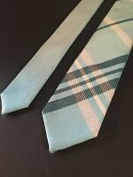 "Mens Express Neck Tie Slim Skinny 100% Silk Blue Aqua Narrow 2.5"" Reversible"
