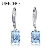 3.65CT Natural Sky Blue Topaz Gemstone Earrings 925 Sterling Silver Aquamarine D