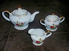Shafford Musical Tea Pot, Sugar, And Creamer Rose On Stem Pattern