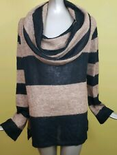 Free People Size L Lulu Rugby Stripe Alpaca Cowl Neck Sweater Tan Black Womens