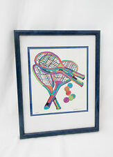 TENNIS Racquets & Balls-Matted/Framed/Signed Lithograph-106/250-Andra Celon?