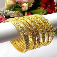 Indian Asian Size:2.4 Pakistani Bridal Jewellery 22ct Gold Plated Bangles