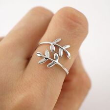 Fashion Women Jewelry Silver Plated Branch Leaf Ring Open Finger Rings US Size 7