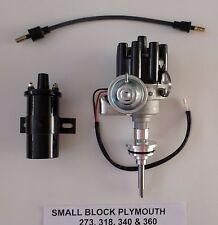 PLYMOUTH 273-318-340-360 BLACK Small Female Cap HEI Distributor + Black 45K Coil