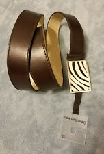 Calvin Klein Jeans Belt Black Leather Faux Fur Buckle Size XL New with Tags