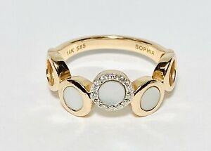 Sophia by Design 14K Rose Gold Diamond Mother of Pearl Halo Ring Size 6.5 3.79g