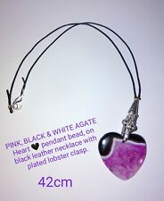 ☀️ Beautiful Pink, Black and White love HEART AGATE pendant on leather 42cm