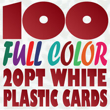 100 Full Color Custom 20pt WHITE PLASTIC BUSINESS CARD Printing w Round Corners