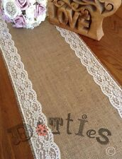 42ft Lovely Handmade Rustic Hessian And Lace Table Runner