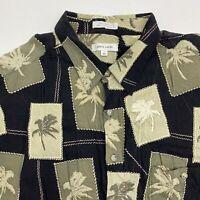 Pierre Cardin Button Up Shirt Mens 3X XXX Green Black Short Sleeve Coconut Tree
