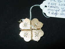 14K Yellow Gold 4 Way Hearts Locket With Diamonds-Shaped Like A Four Leaf Clover