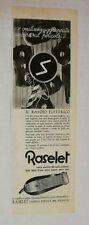 Pubblicità 1938 RASELET RASOIO BOLOGNA UOMO BEAUTY advertising publicitè reklame